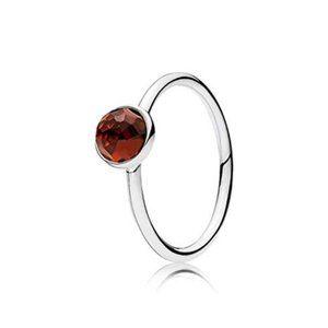 Pandora January Droplet Ring Garnet